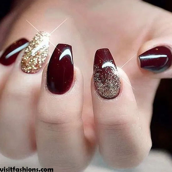 Gold Glitter simple Nail designs