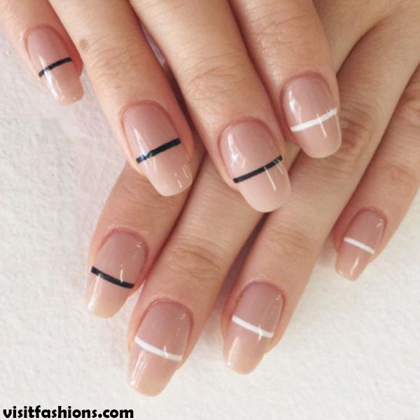 Horizontal lines in two colors simple nail designs