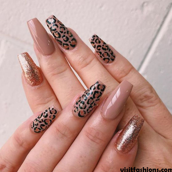 Leopard Print simple Nail  Designs