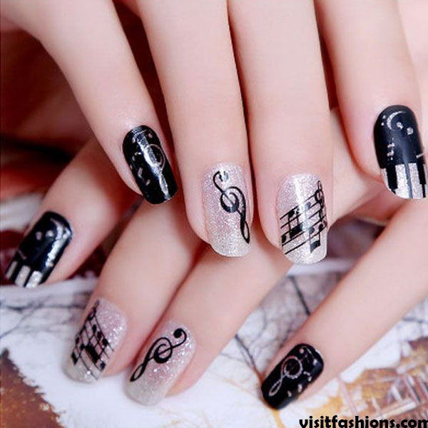 Musical Notes simple Nail designs