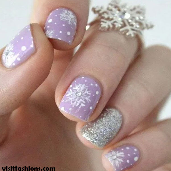 Pink Ombre Snowflakes simple nail designs