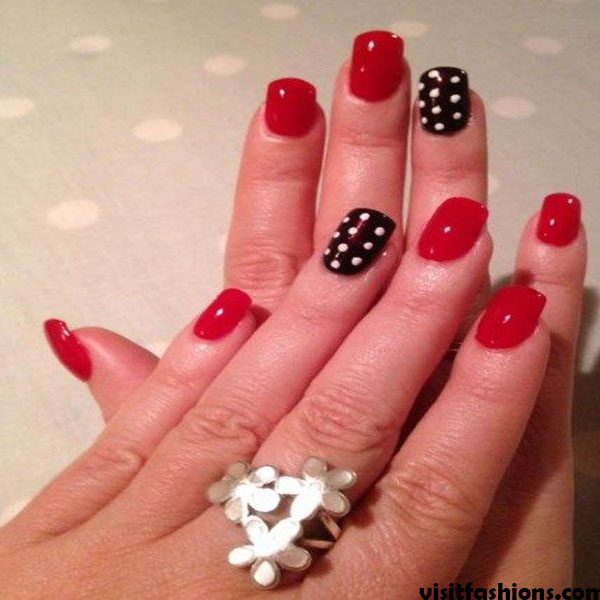 Red And White Polka simple Nail designs