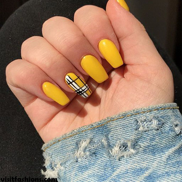 Yellow Color Grapefruit simple Nail Designs