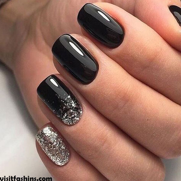 Black Nails With Silver Accents art marble nails
