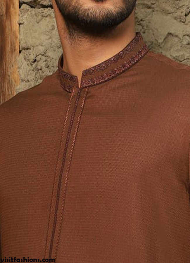 Brown Semi Fashion Kurta designs for men