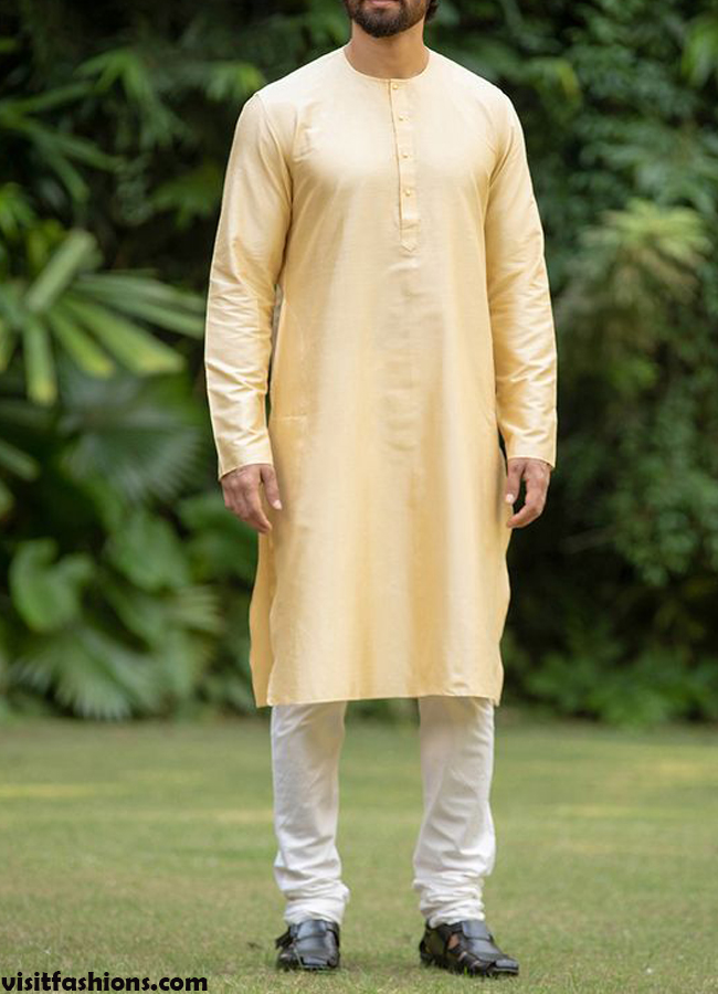 Cream Basic Kurta designs for men