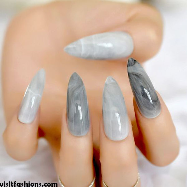 Grey Stiletto Marbled Nails