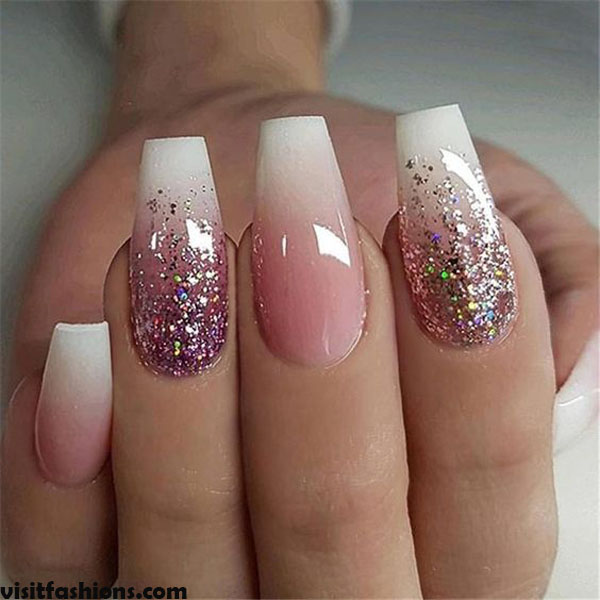 10.   Marbled with Pink Glitter marbale nails Design