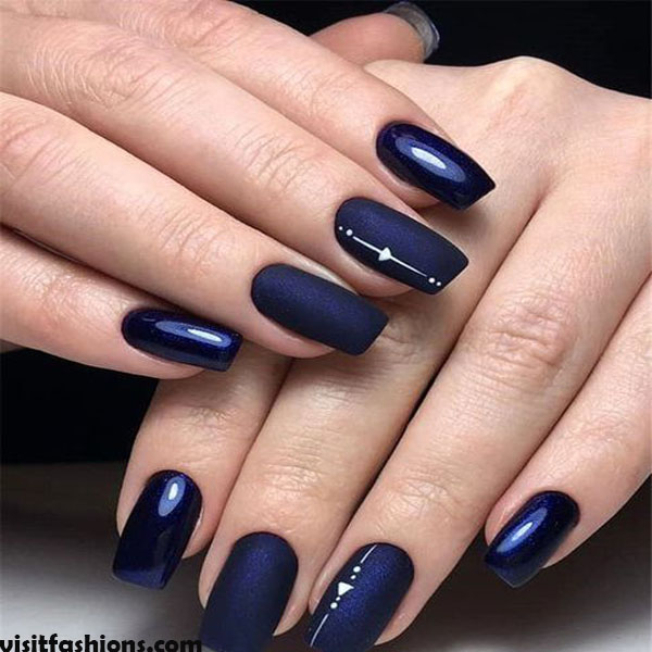 Midnight Blue marble nails Design