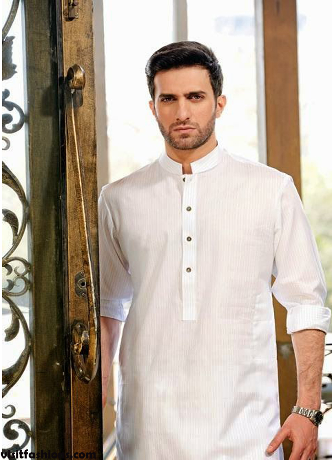Off White Basic Kurta designs for men