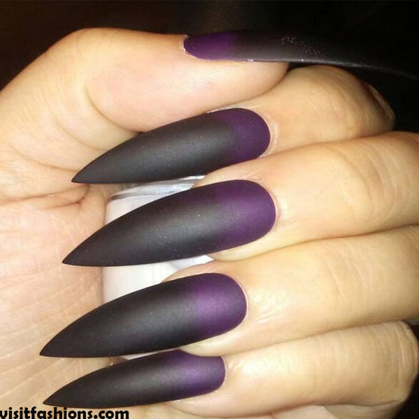 Short Purple Stiletto Marble nails Design