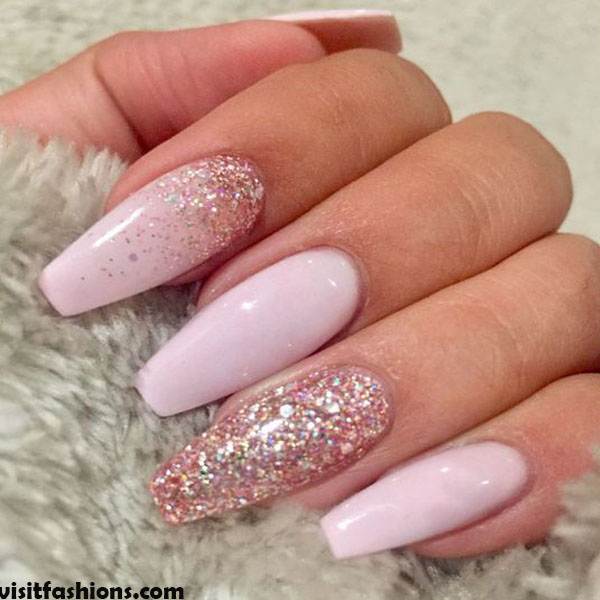 Squared Pink & Marble nails Design