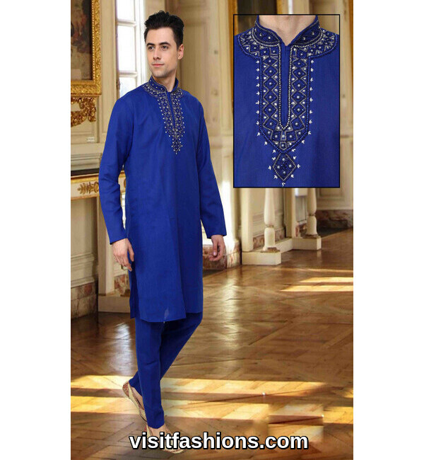 blue punjabi kurta pajama for men