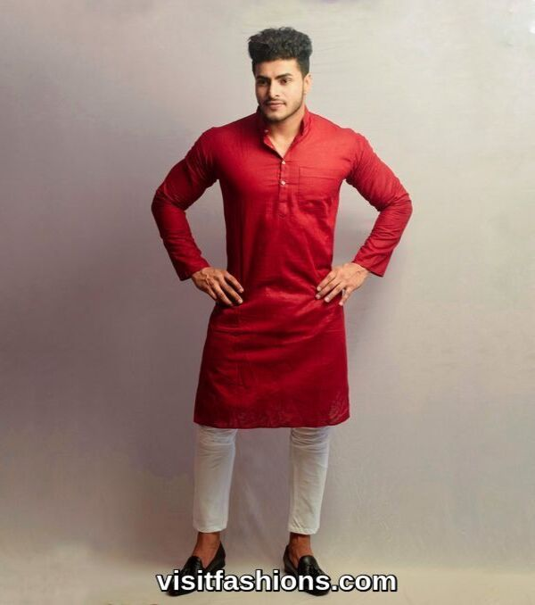 red punjabi kurta pajama for men