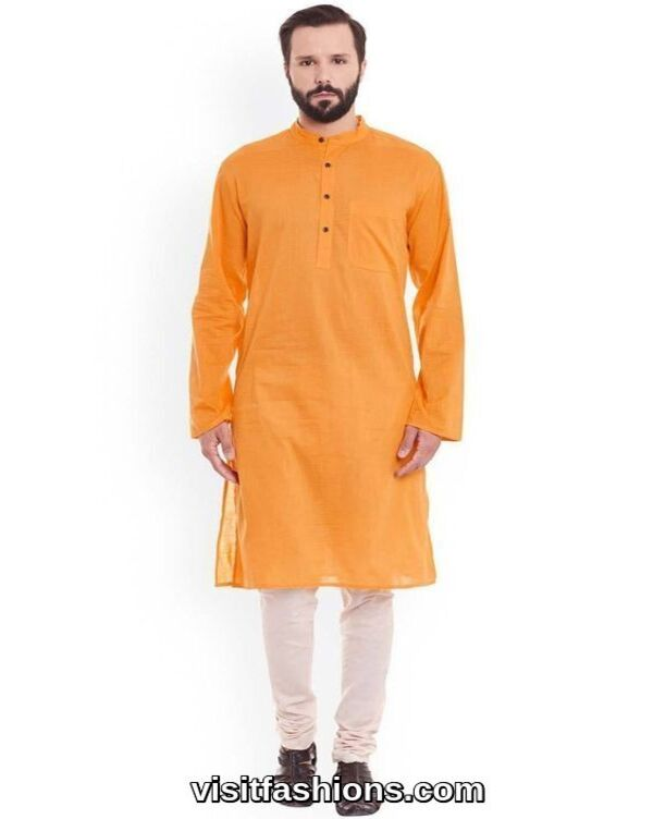 orange punjabi kurta pajama for men
