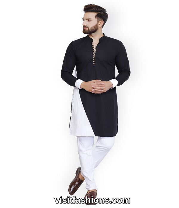black punjabi kurta pajama for men on eid day