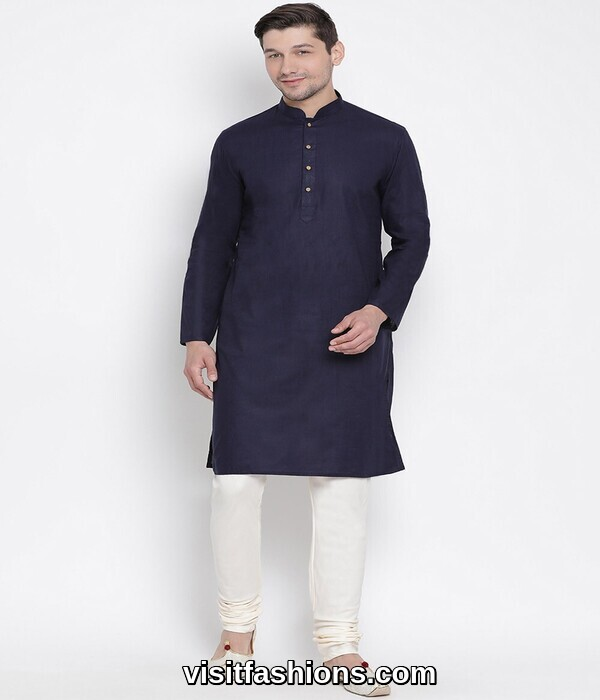 navy blue punjabi kurta pajama for men