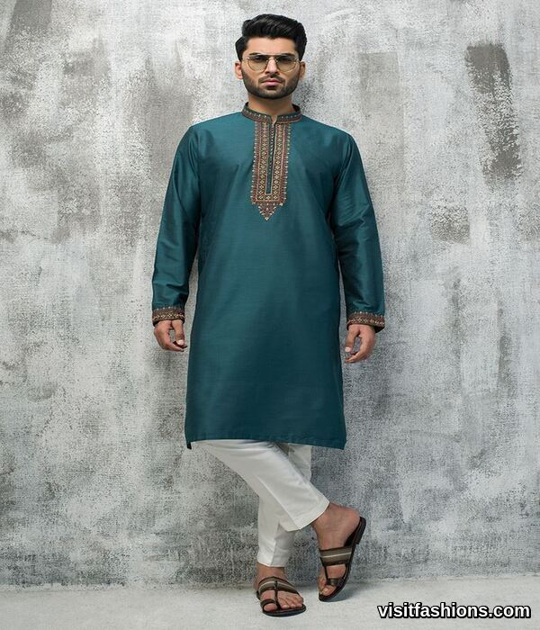 peacock punjabi kurta pajama for eid