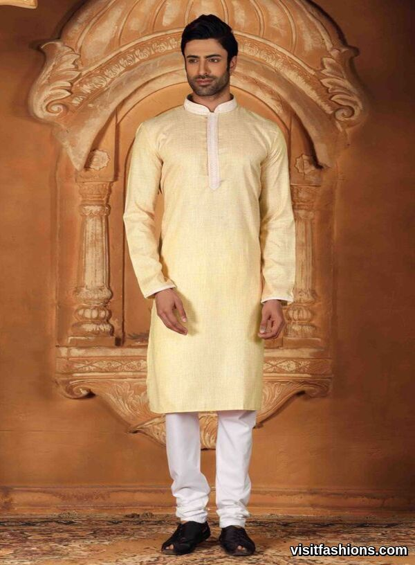 light yellow punjabi kurta pajama