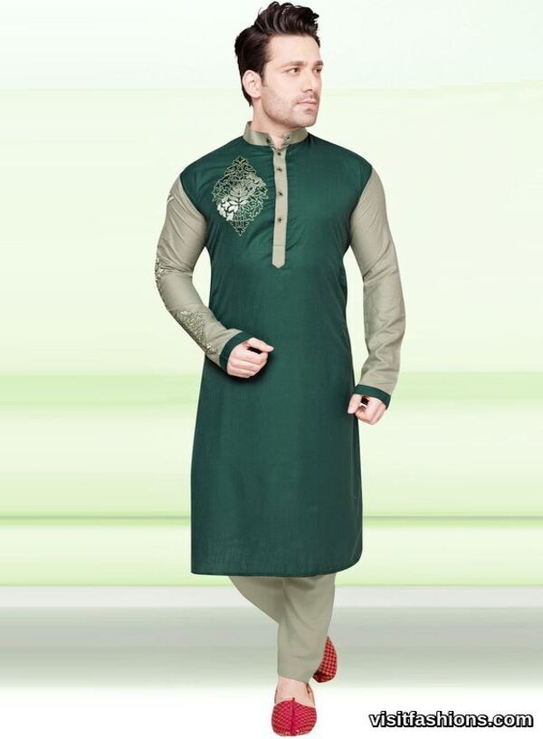 green cotton punjabi kurta pajama