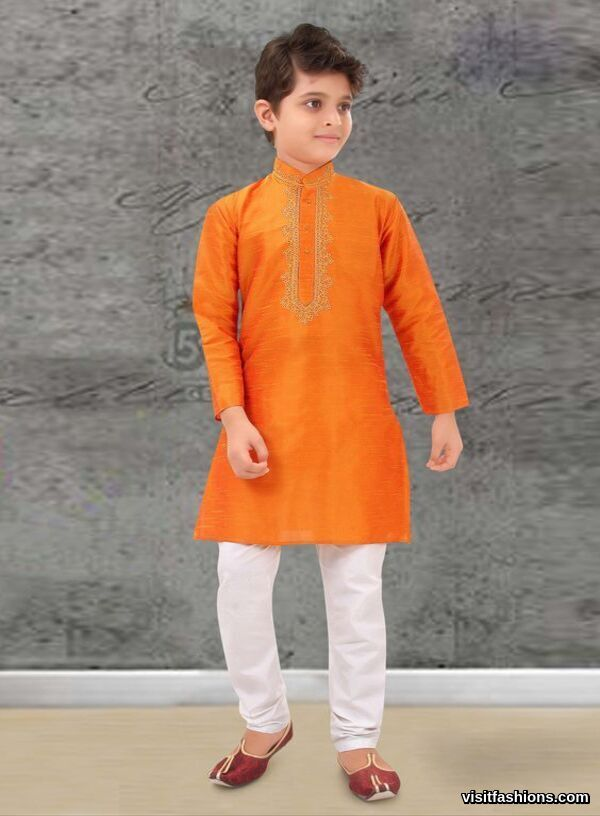 orange punjabi kurta pajama