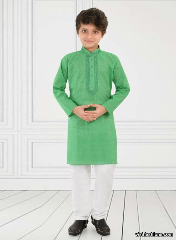 green punjabi kurta pajama for boys