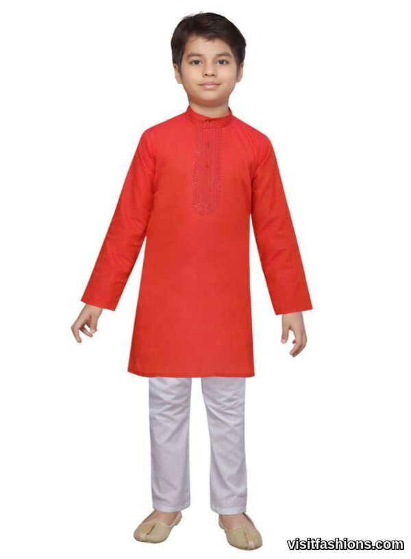 red punjabi kurta pajama for boys