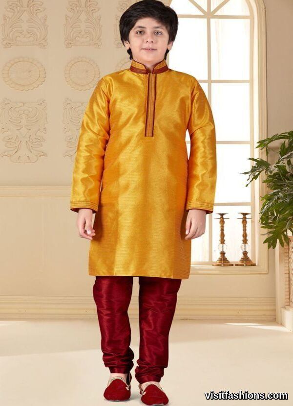 ornage silk punjabi kurta pajama