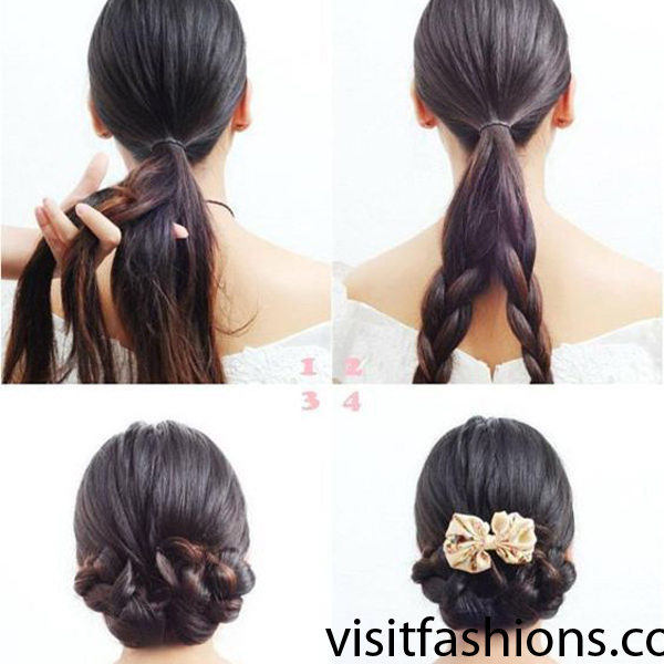 bun hairstyle with braid