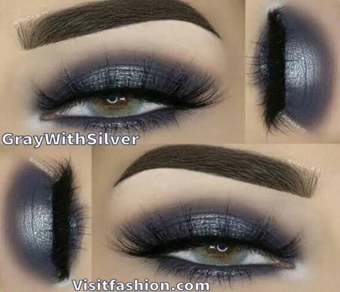 gray with silver makeup