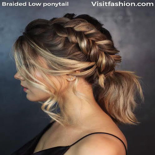 braided low ponytail for short hairs