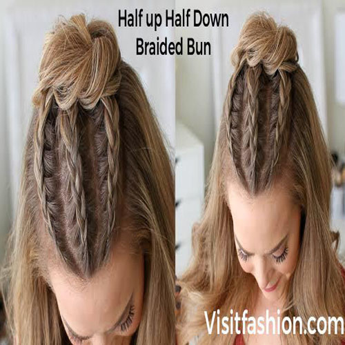 half-up half down braided bun hairstyle