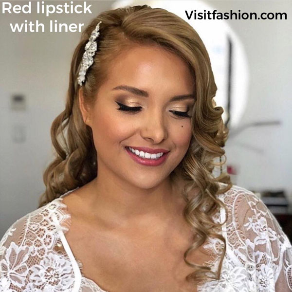 red lipstick bridal makeup look