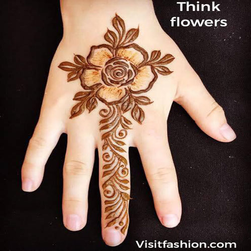 think flowers mehndi design