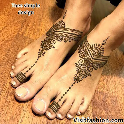 simple and easy mehndi designs for feet