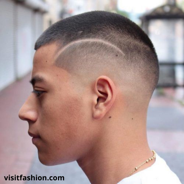 buzz cut with shaved design