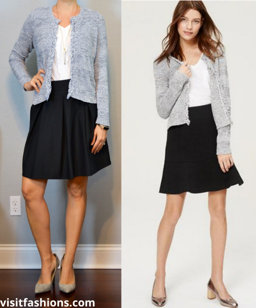 CARDIGAN AND TOP SHELL WITH A-LINE SKIRT AND PUMPS