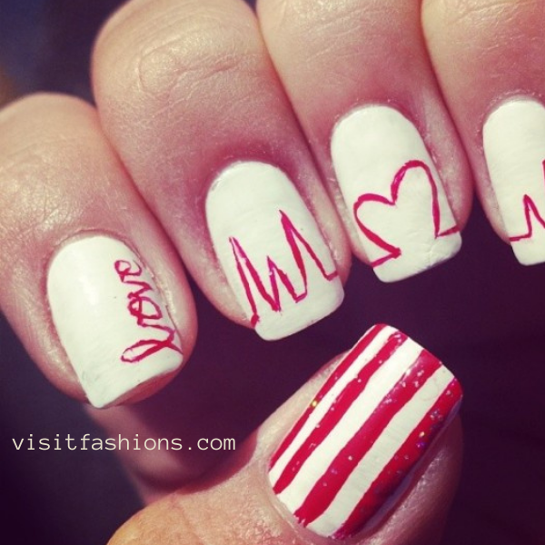 Love heart nail art