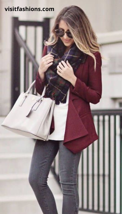 BLAZER WITH V-NECK SWEATER, TROUSER, SCARF AND PUMPS