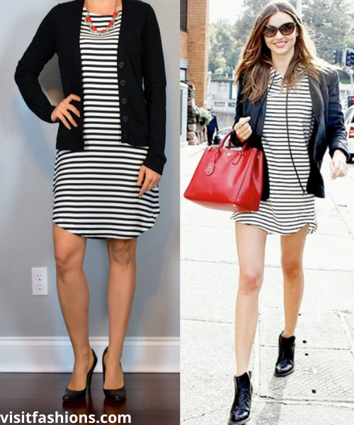 CARDIGAN WITH SHEATH DRESS AND PUMPS