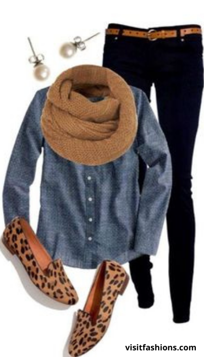 TROUSERS AND BUTTON UP WITH PUMPS AND THIN SCARF