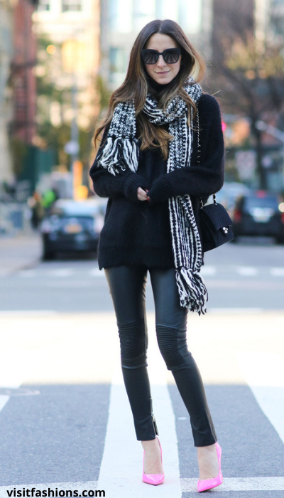 V – NECK WITH SWEATER, TROUSERS, PUMPS, AND SCARF