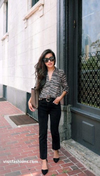 BUTTON DOWN WITH V-NECK SWEATER, TROUSERS, AND FLATS