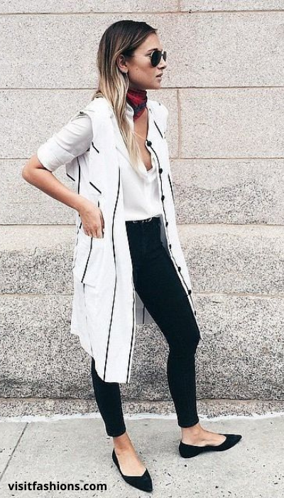 SOLID BUTTON DOWN WITH BLACK TROUSERS, SKINNY SCARF AND FLATS